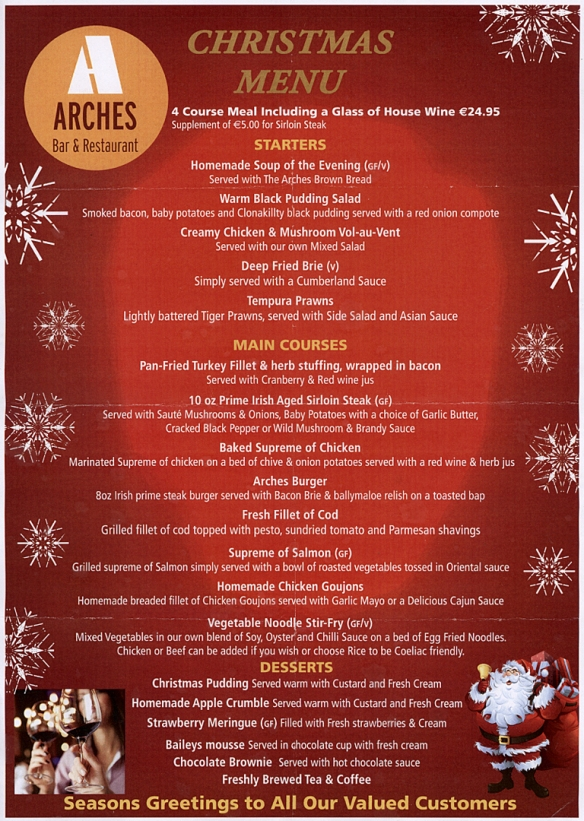 Arches Christmas Menu